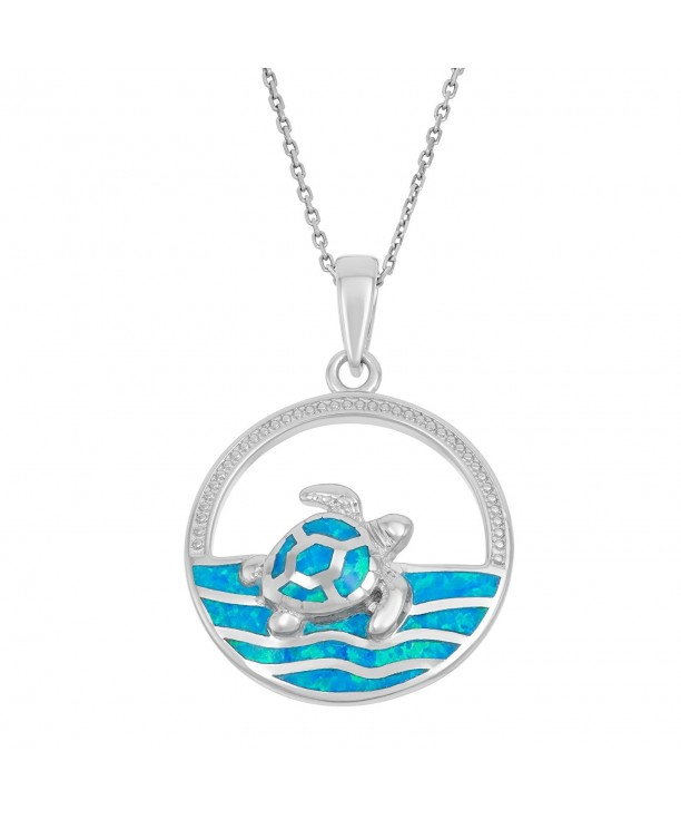 Sterling Silver Created Swimming Pendant