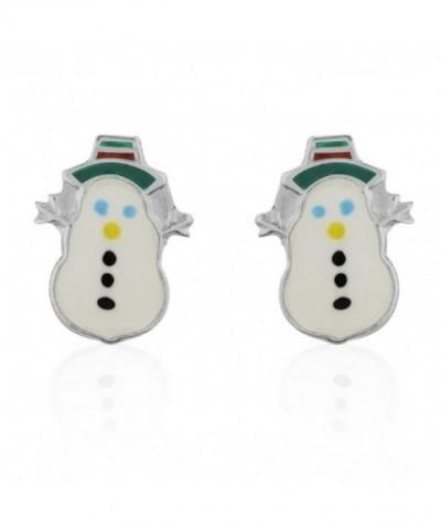 Childrens Sterling Silver Snowman Earrings