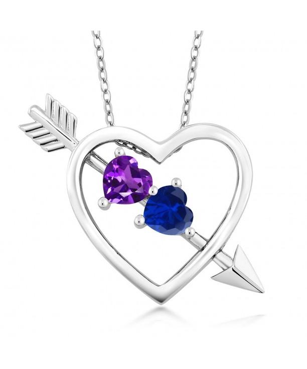 Purple Amethyst Simulated Sapphire Pendant