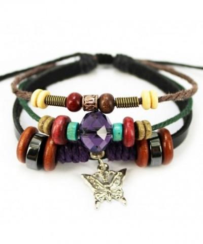 Butterfly Pendant Rhinestone Adjustable Bracelet