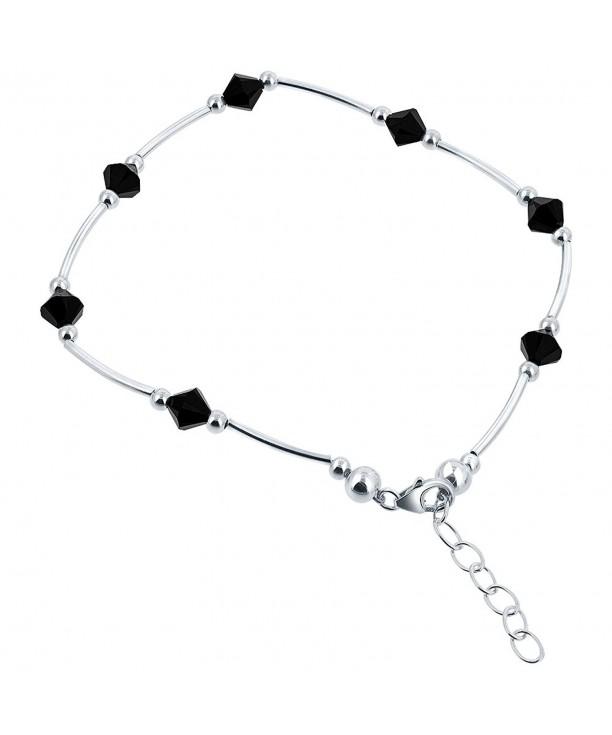 Sterling Silver Swarovski Elements Black Bicone Crystal Ankle Bracelet 9 To 10 Inch Adjule C9111crmg27