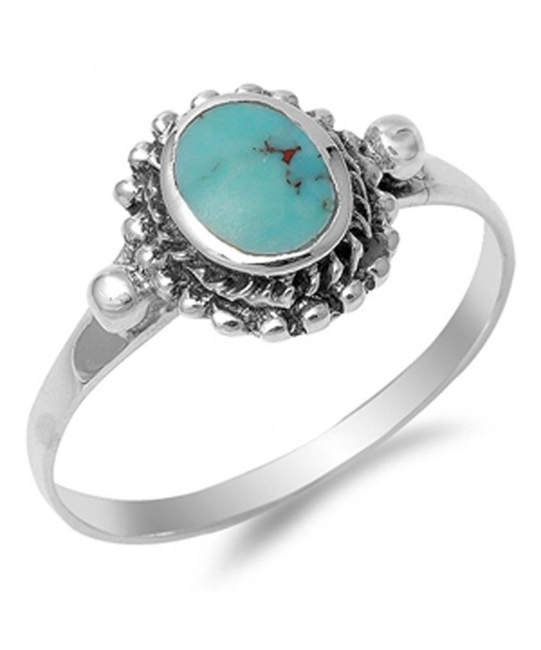 Womens Simulated Turquoise Sterling Silver
