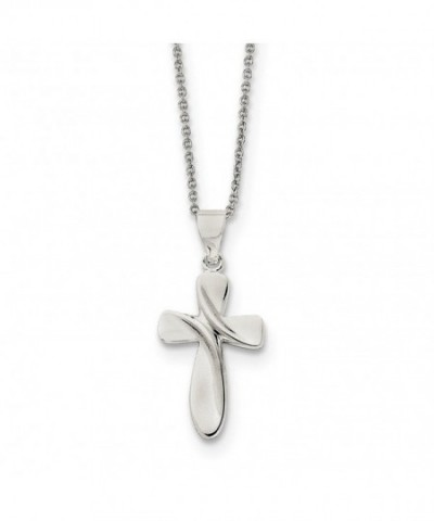 Sterling Silver Polished Cross Necklace