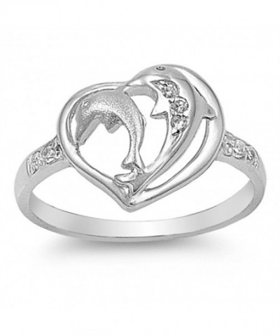 White Beautiful Dolphin Sterling Silver