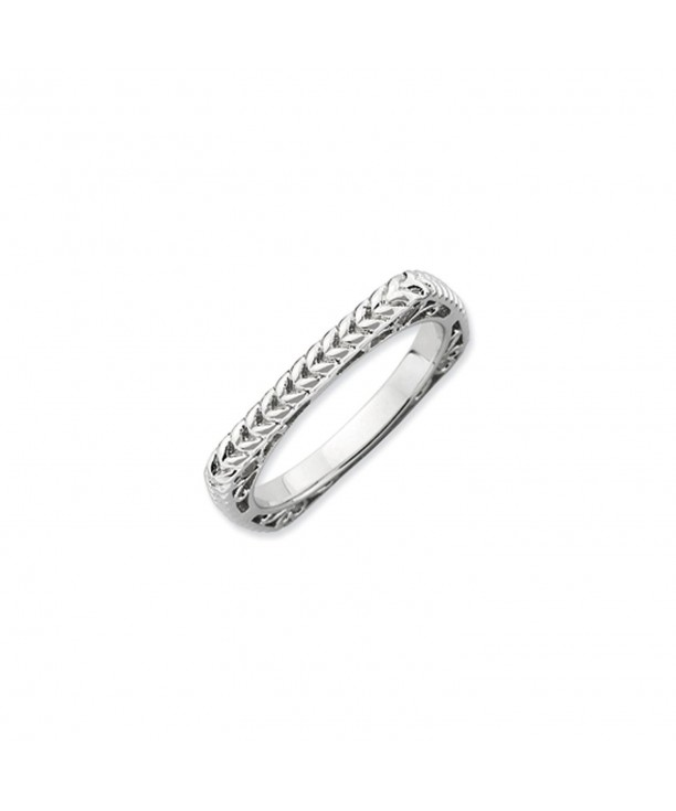 Stackable Sterling Silver Square Wheat