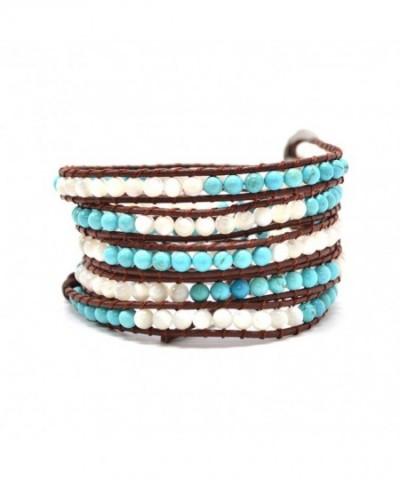 Bracelet Turquoise Semiprecious Authentic Leather