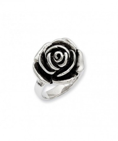 Stainless Steel Oxidized Flower Ring