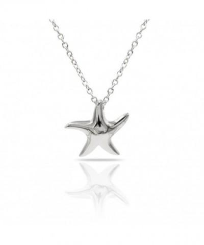 Sterling Necklace Polished Starfish Adjustable