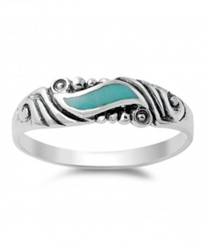 Simulated Turquoise Sterling Silver RNG14153 6