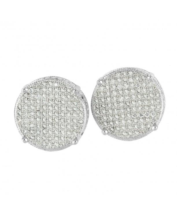 68694c4d0d15e White Gold Tone Earrings Mens Womens Round Design Lab Diamonds Screw Back  Pierce 349 C4125IUYP3V