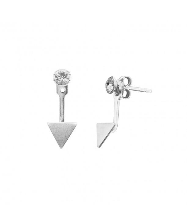 Sterling Rhinestone Crystal Triangle Earrings
