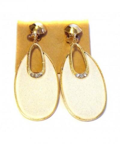 Clip Earrings Dangle Ivory White