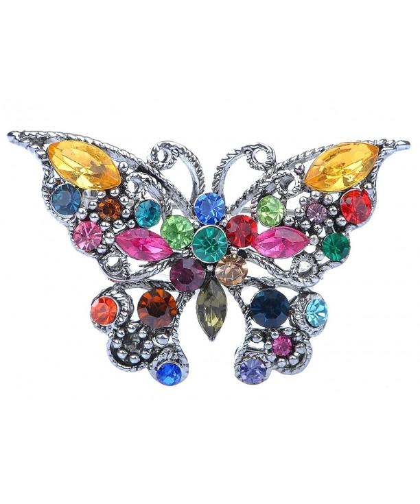 Alilang Silvery Rainbow Rhinestone Butterfly