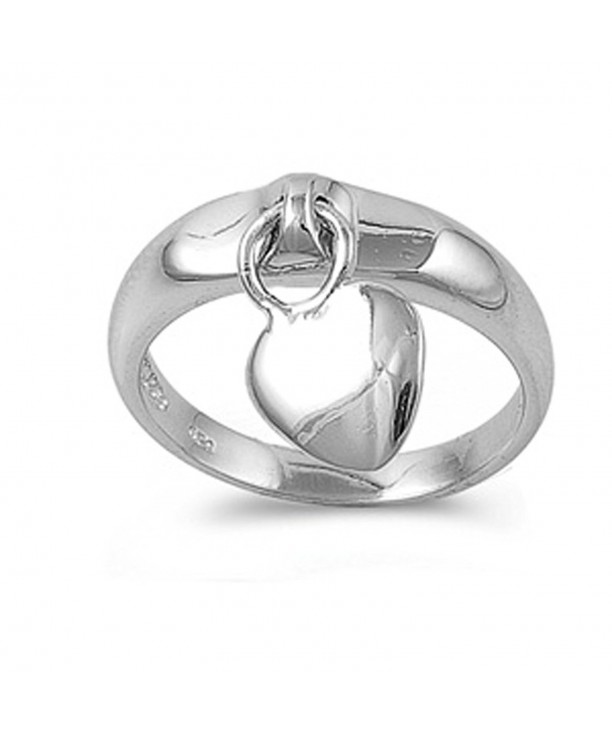 Sterling Silver Womens Dangling Heart