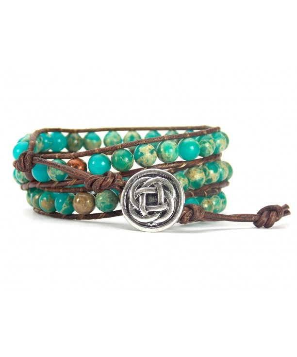 Bracelet Leather Synthetic Turquoise Synthetic Jasper Silver Tone