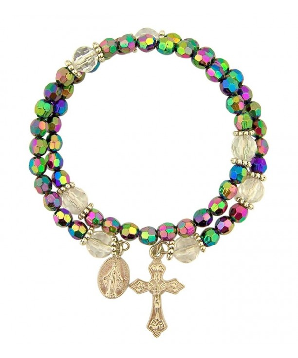 Womens Catholic Purple Miraculous Bracelet