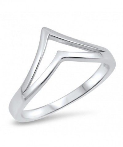 Double Pointed Chevron Sterling Silver