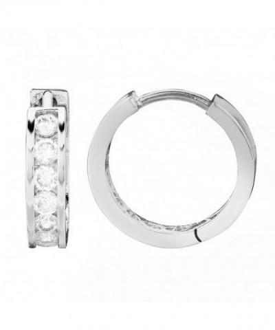 Sterling Silver Channel Zirconia Earrings