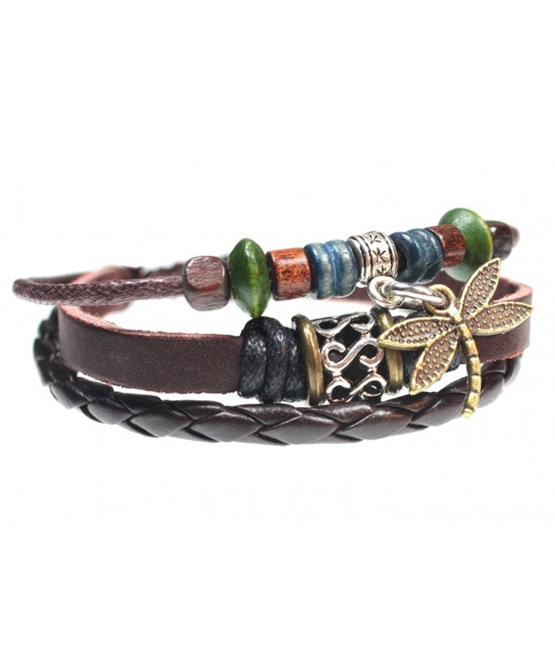 Dragonfly Leather Bracelet Fits Inches