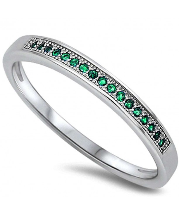 Micro Simulated Emerald Sterling Silver