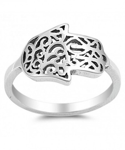 Sideways Filigree Hamsa Sterling Silver