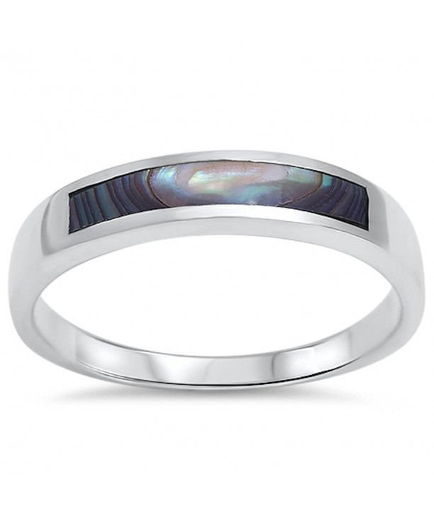 Abalone Design Band Sterling Silver