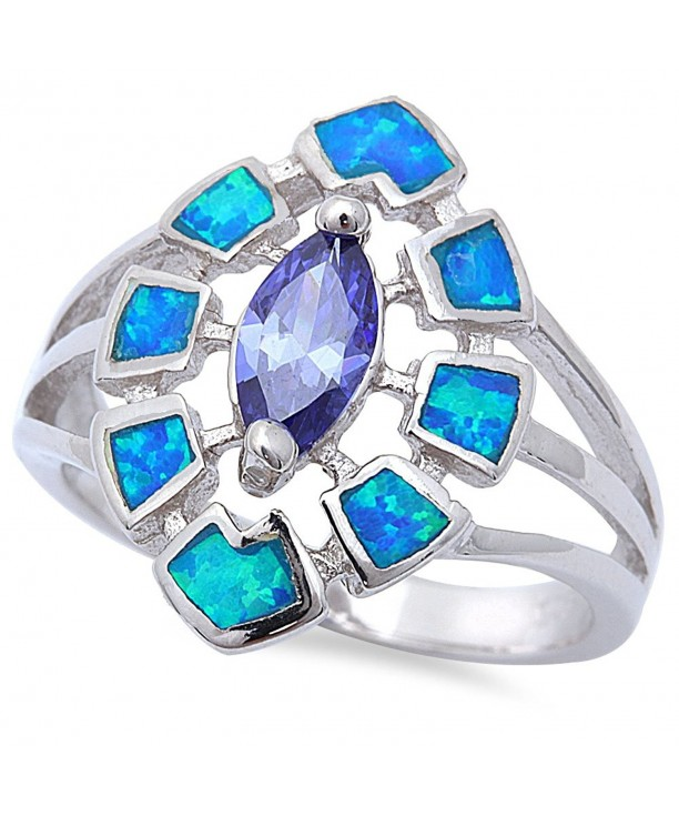 Simulated Tanzanite Created Sterling Silver