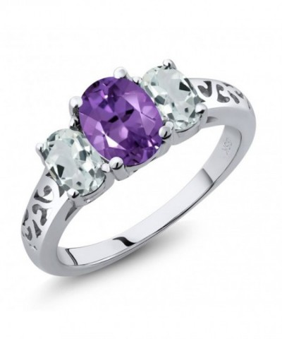 Amethyst Aquamarine Sterling 3 Stone Available