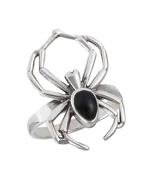 Simulated Black Spider Sterling Silver