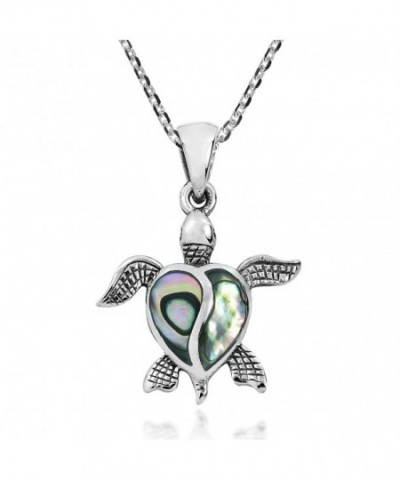 Turtle Abalone Sterling Pendant Necklace