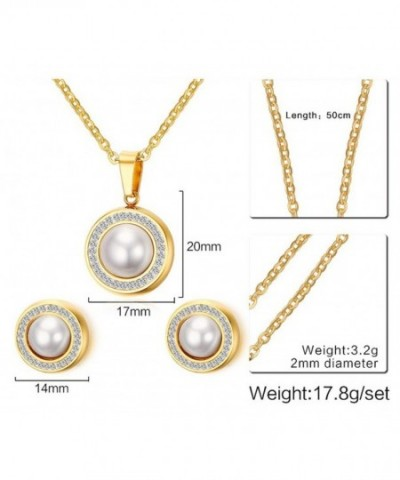 Fashion Gold Plated Stainless Steel Round Shaped Pearl Set Pendant