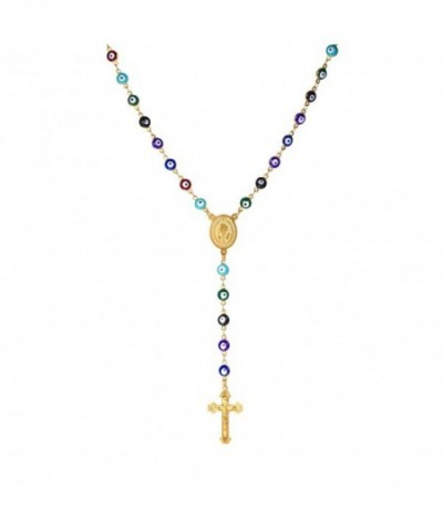 Colorful Beaded Plated Necklace Crucifix