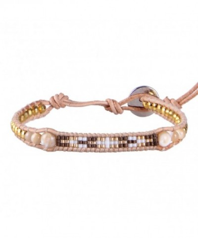 KELITCH Shell Pearls Hematite Leather Bracelet