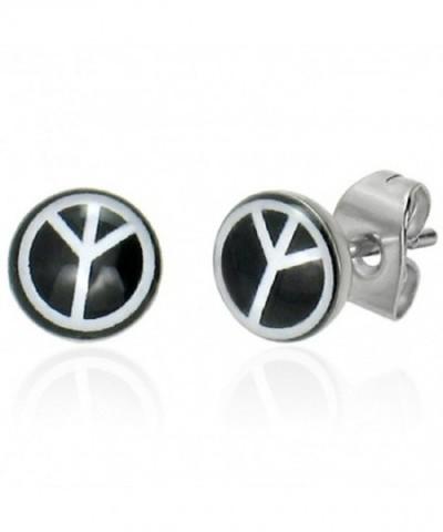 Stainless Steel Peace Black Earrings