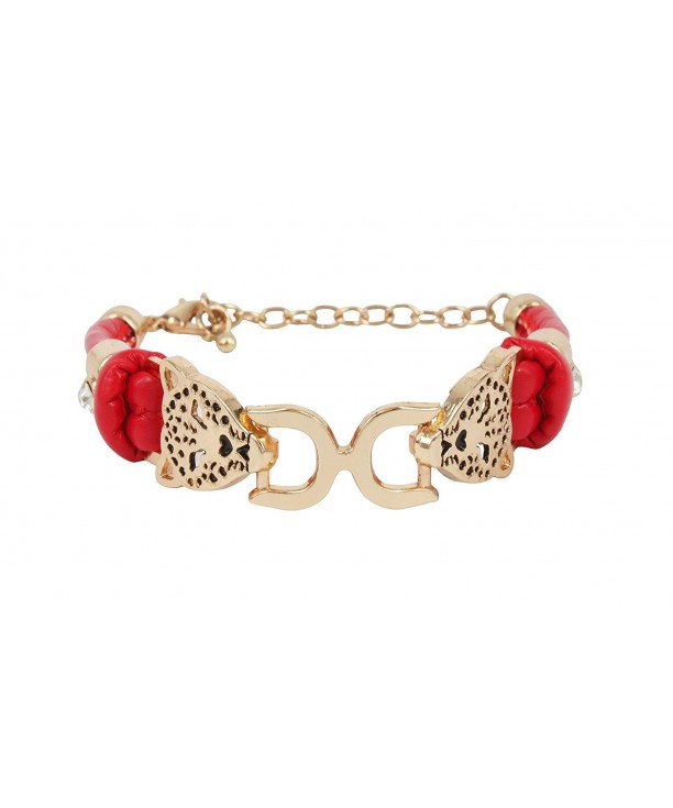 Fashion Bracelet Leopard Leather Crystal