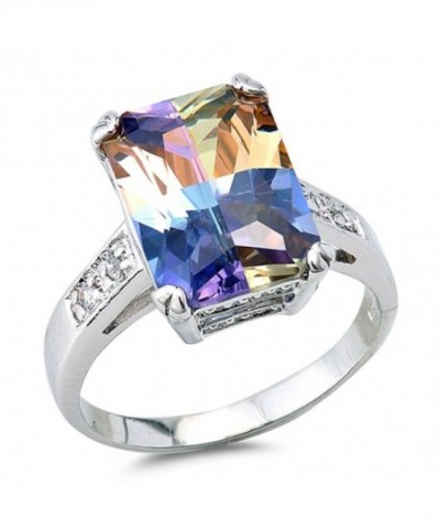 Rectangle Multicolor Simulated Sterling Silver