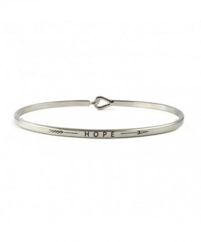 Hope Inspirational Bangle Bracelet Rhodium
