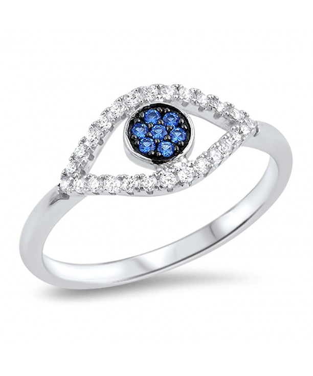 Simulated Sapphire Sterling Silver RNG16656 7