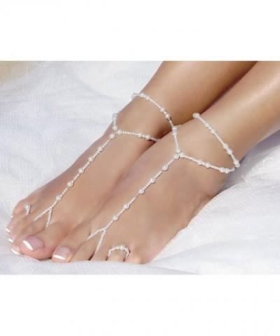 9381eba4e5a 2 Pcs Womens Beach Imitation Pearl Barefoot Sandal Foot Jewelry ...