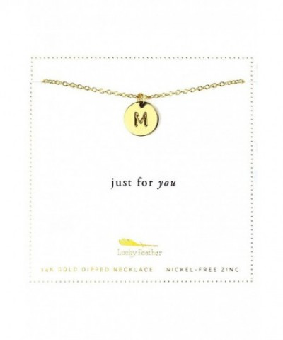 Lucky Feather Letter Disc Necklace