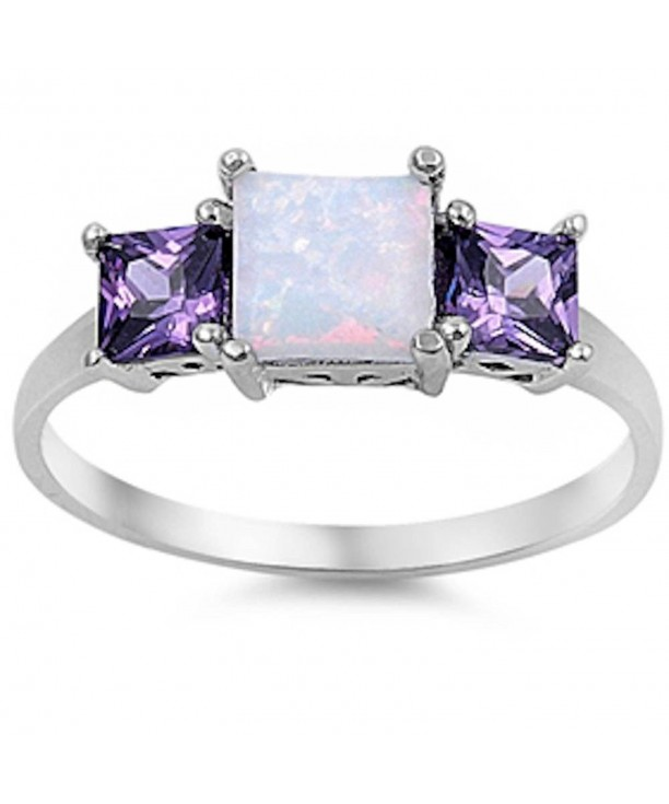 Princess Australian Simulated Amethyst Sterling
