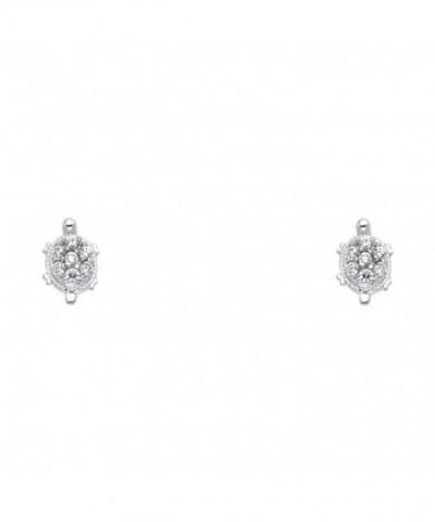 f7ea6b4b2 14k White Gold Turtle Stud Earrings with Screw Back CD122E3VN7B