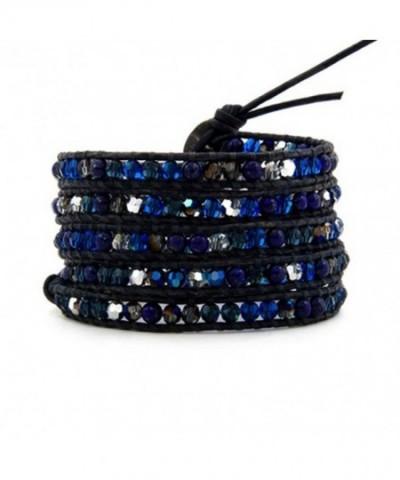 Crystals Bracelet Leather Handmade Multilayer