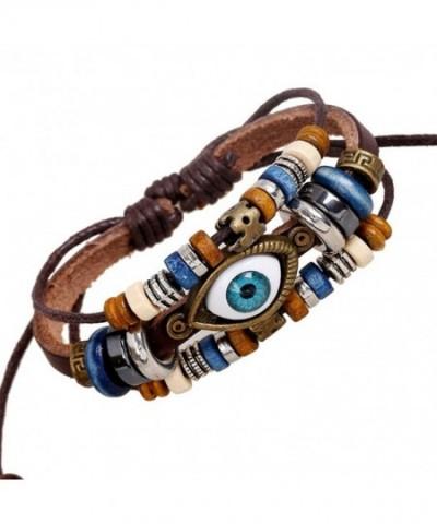 Vintage Charm Beads Leather Bracelet