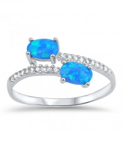 Double Simulated Sterling Silver RNG16487 5