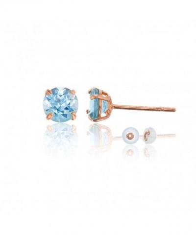 Rose 6 00mm Round Aquamarine Earring