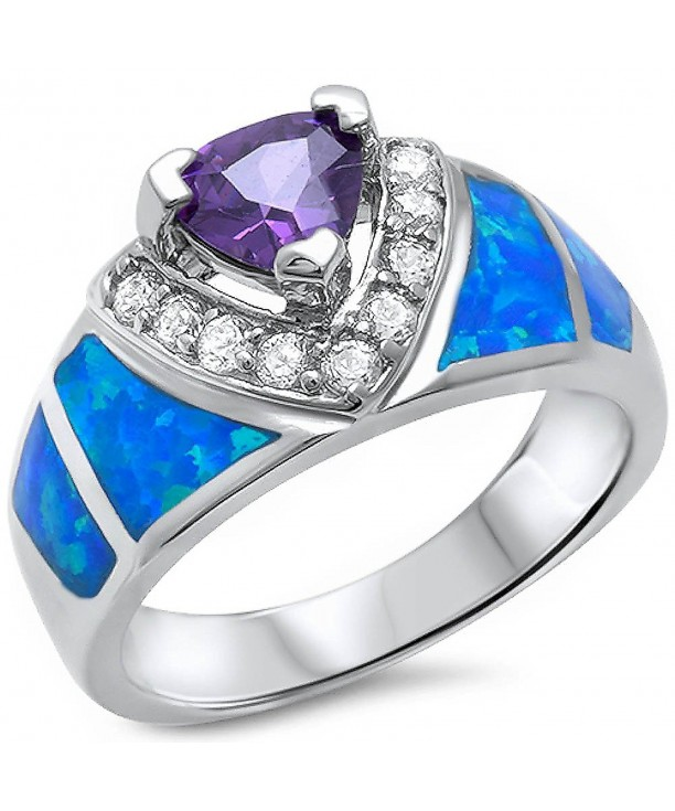 Amethyt Created Fashion Sterling Silver