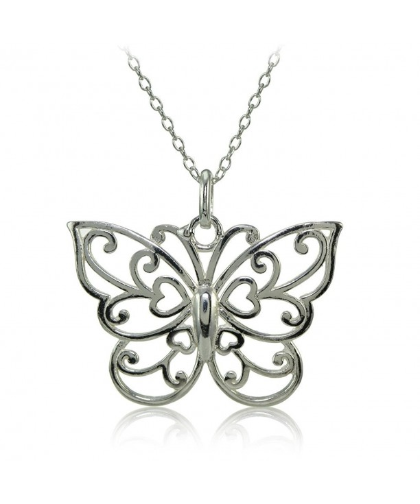 Sterling Polished Filigree Butterfly Necklace