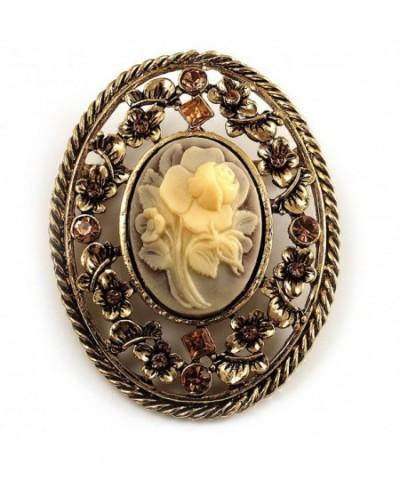 Vintage Floral Crystal Brooch Antique