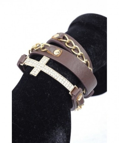Rhinestone Cross Leather Bracelet Gold Tone